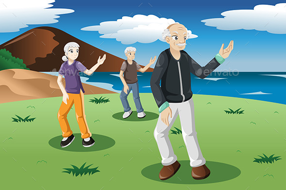 GraphicRiver Senior People Exercising Tai-Chi Outdoor 9615735