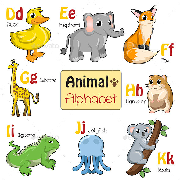 Alphabet Animals from D to K
