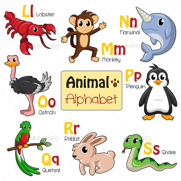 GraphicRiver Alphabet Animals from L to S 9615776