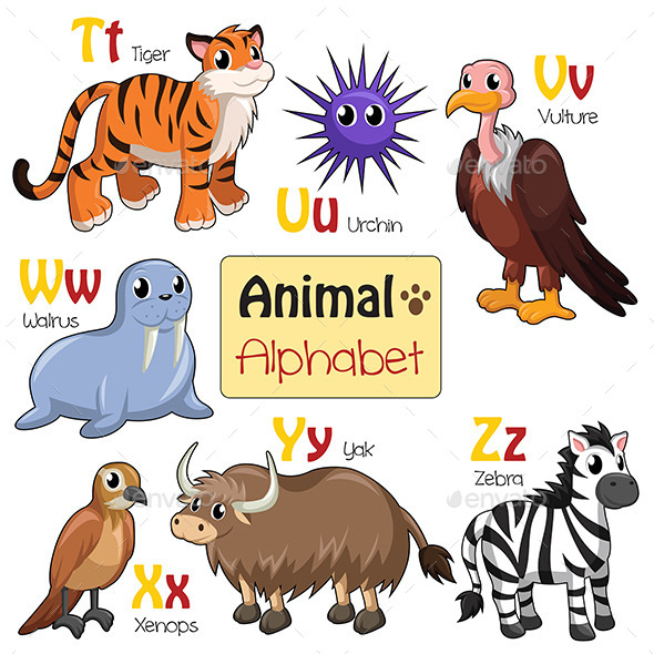 GraphicRiver Alphabet Animals from T to Z 9615868
