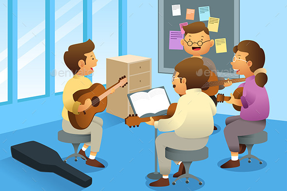 GraphicRiver Adults in a Guitar Class 9615912