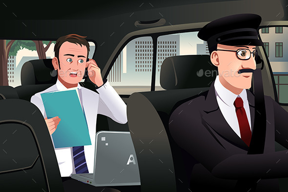GraphicRiver Businessman Talking on the Phone in a Car 9615980