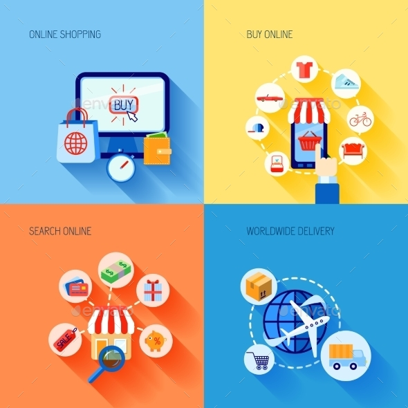 GraphicRiver Shopping E-Commerce Icons Set Flat 9616101