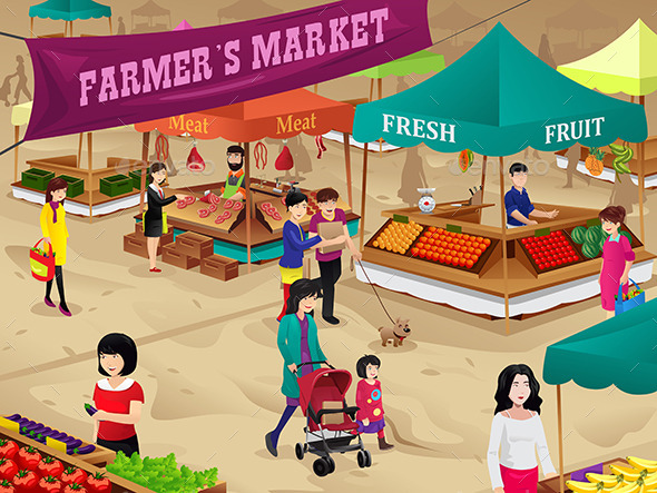 GraphicRiver Farmers Market Scene 9616103