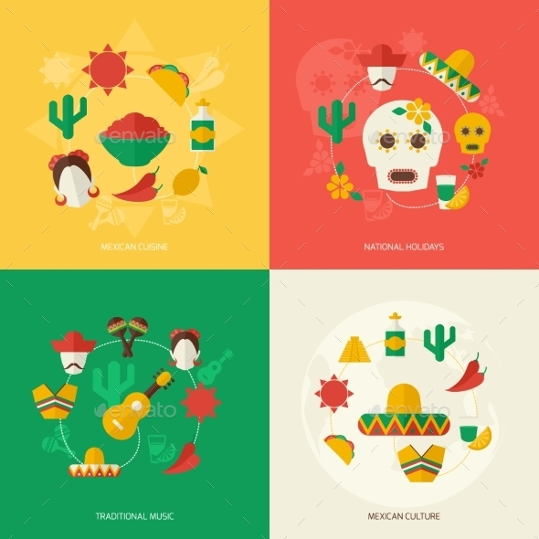 GraphicRiver Mexico Flat Icons Set 9616106