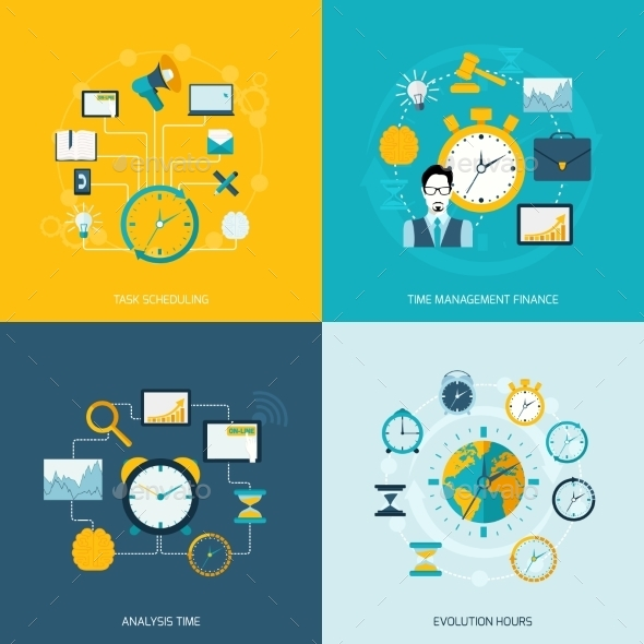 GraphicRiver Time Management Flat Icons 9616174