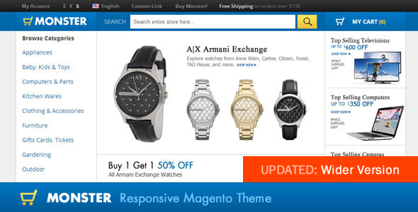 01 screenshot.  large preview - Monster Responsive Magento Theme