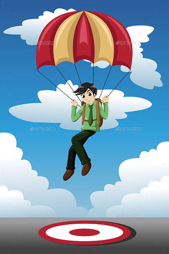 GraphicRiver Businessman with a Parachute Landing on a Target 9616196