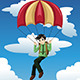 Businessman with a Parachute Landing on a Target - GraphicRiver Item for Sale