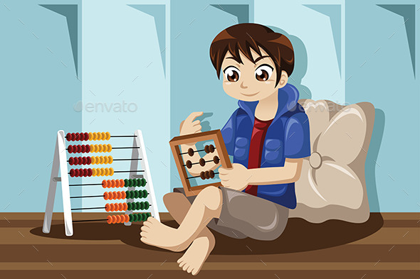 GraphicRiver Kid Playing with Abacus 9616201