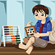 Kid Playing with Abacus - GraphicRiver Item for Sale
