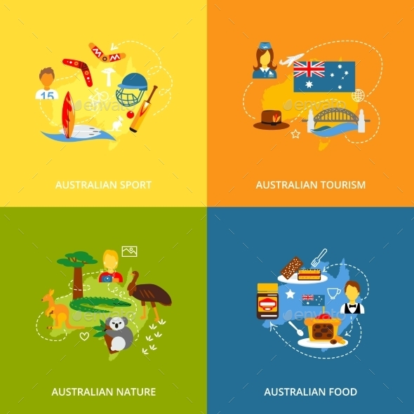 GraphicRiver Australia Icons Set Flat 9616281
