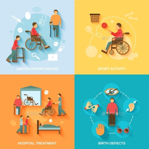 GraphicRiver Disabled Icons Set Flat 9616288