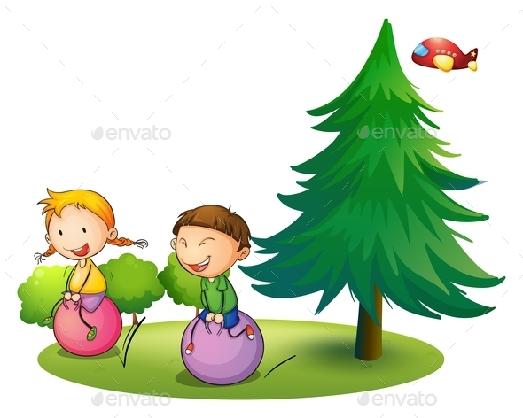 GraphicRiver Kids Playing with a Bouncing Balloons 9616351