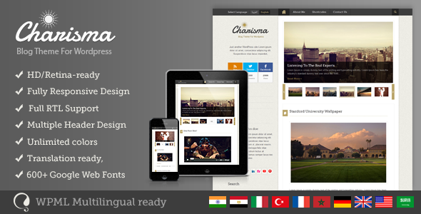Charisma - Premium Wordpress Blog Theme - Personal Blog / Magazine