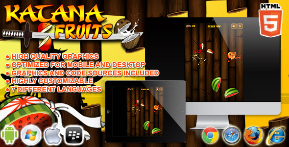 CodeCanyon Katana Fruits HTML5 Game 9616471