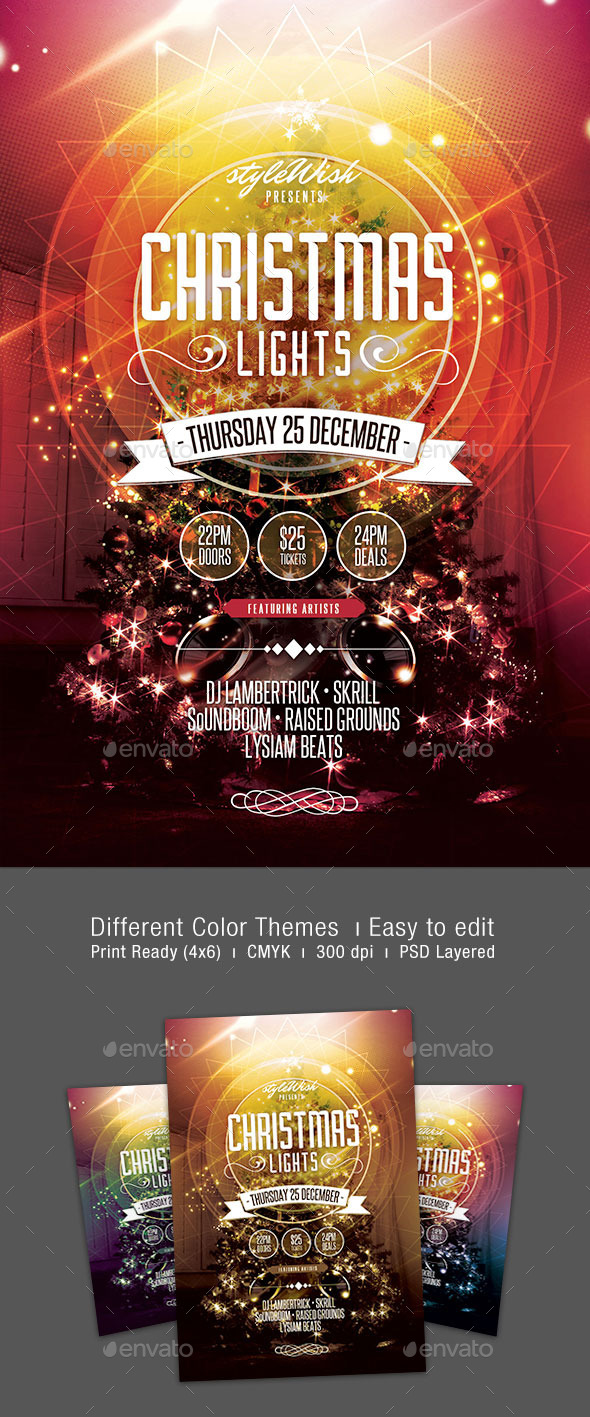 GraphicRiver Christmas Lights Flyer 9616581