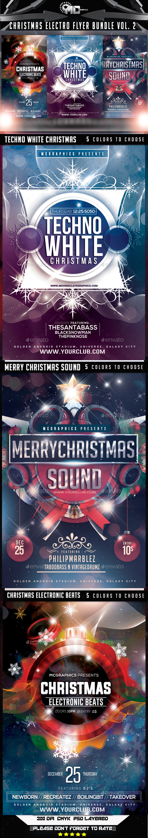 GraphicRiver Christmas Electro Flyer Bundle Vol 2 9617207