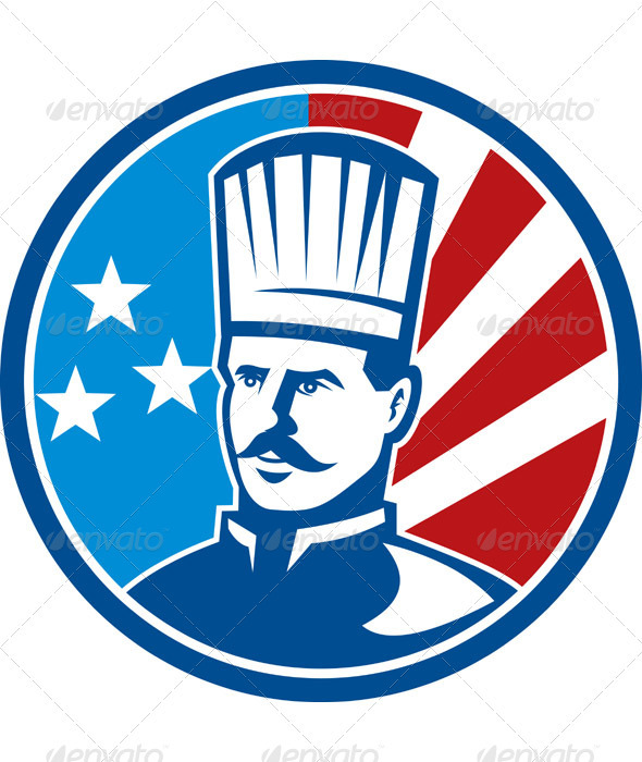 American Chef Cook Baker With Flag