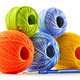 Colorful yarn for crocheting and hook isolated on white - PhotoDune Item for Sale