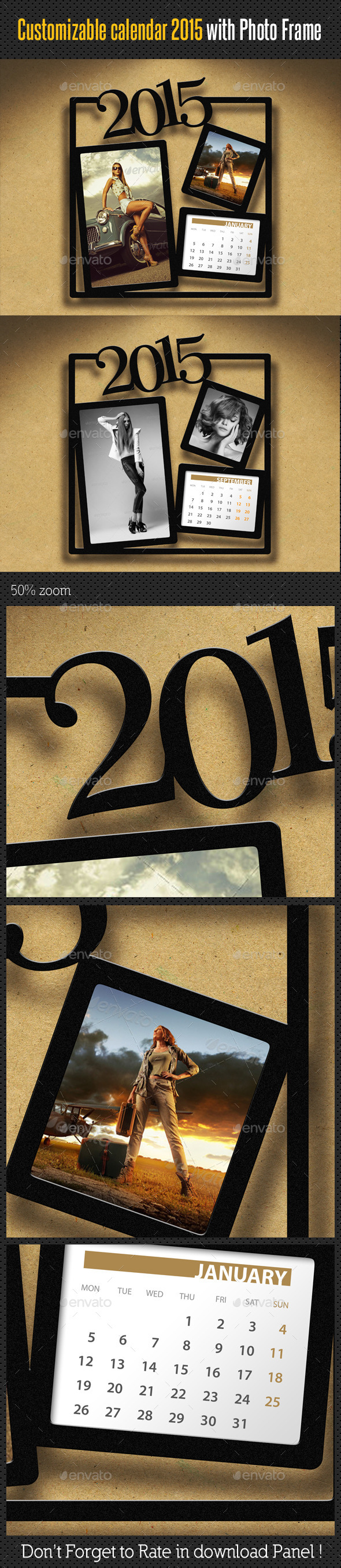 Customizable Calendar 2015 Photo Frame V05