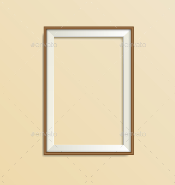 GraphicRiver Blank Simple Wooden Modern Frame Isolated on Beige 9618677