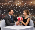 smiling couple at restaurant - PhotoDune Item for Sale