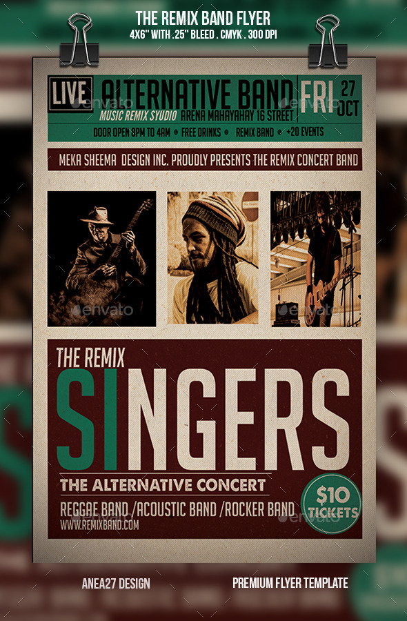 GraphicRiver The Remix Band Flyer 9550341