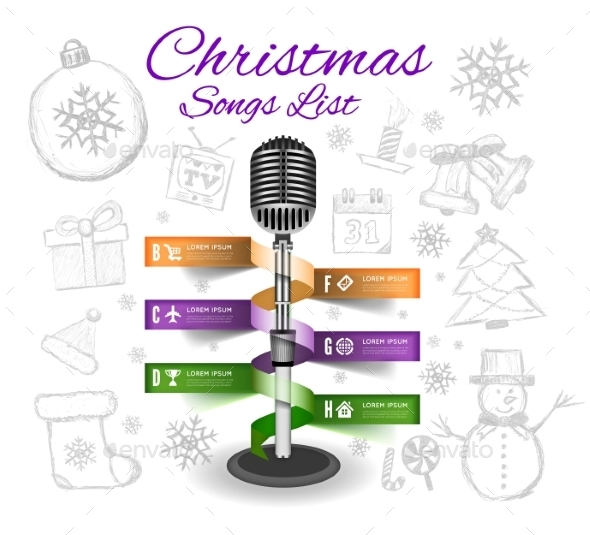 GraphicRiver Christmas Microphone Infographics 9619087