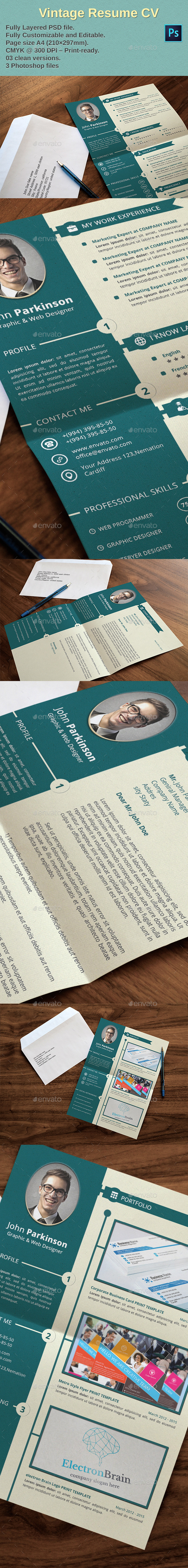 GraphicRiver Vintage Resume CV 9619306