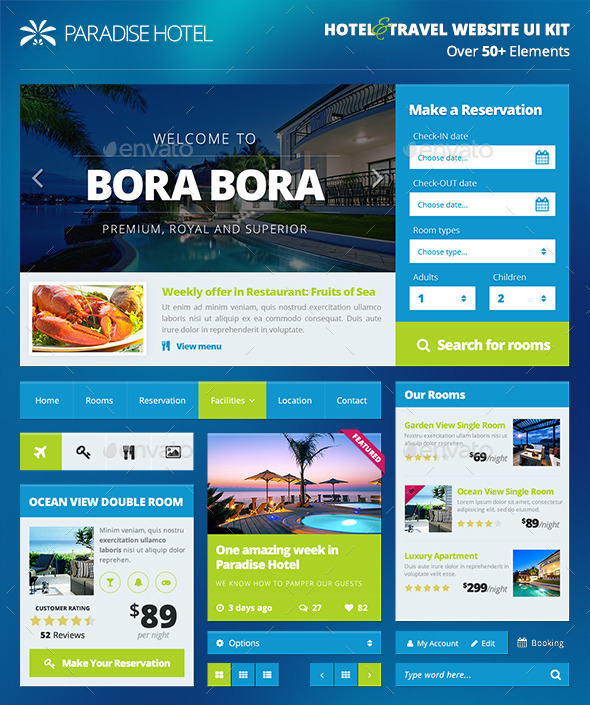 GraphicRiver Hotel Travel Booking Website UI Kit PART 1 9619326