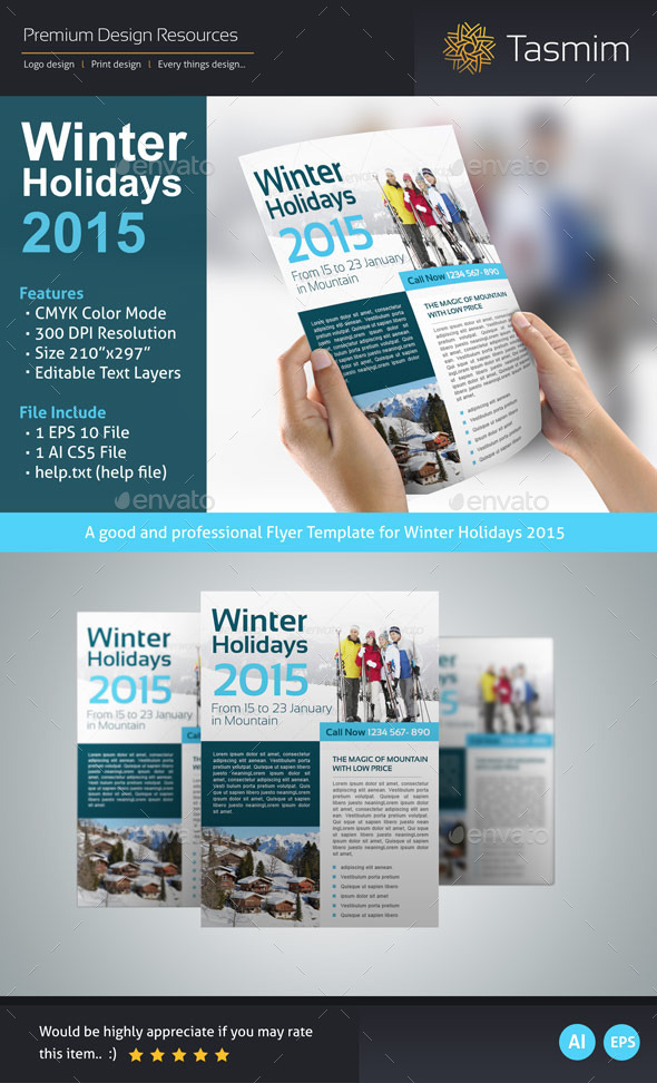 GraphicRiver Winter Holidays 2015 Flyer Template 9562335