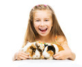 Little cute baby girl with guinea pigs - PhotoDune Item for Sale