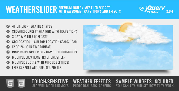 WeatherSlider Premium jQuery Weather Widget - CodeCanyon Item for Sale