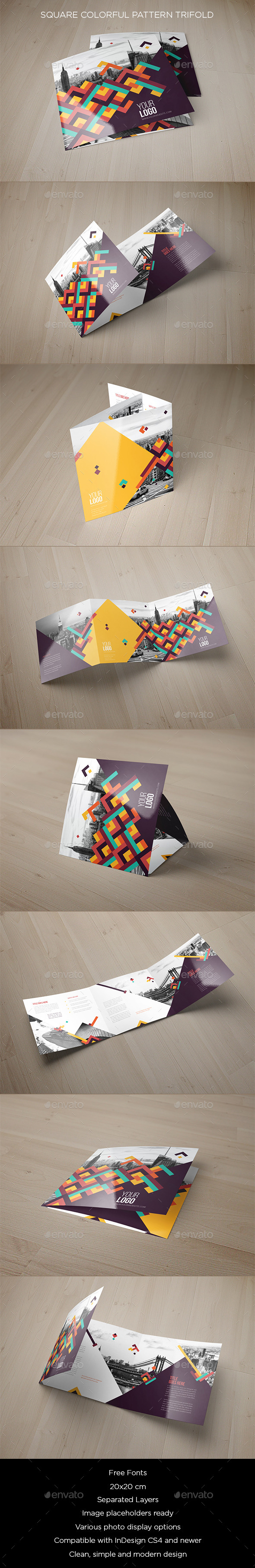 Square Colorful Pattern Trifold