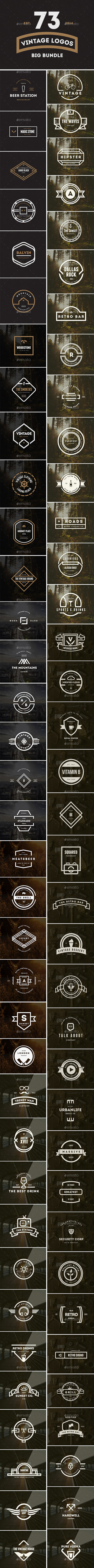 GraphicRiver 73 Vintage Labels & Badges Logos Bundle 9624640