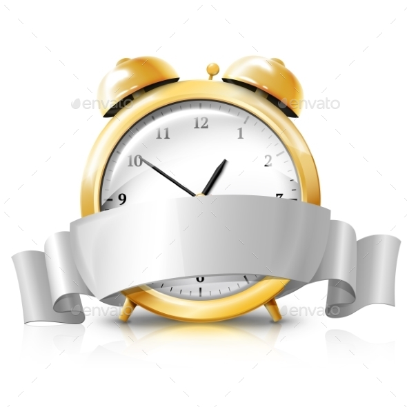 GraphicRiver Golden Alarm Clock with Silver Banner 9624669