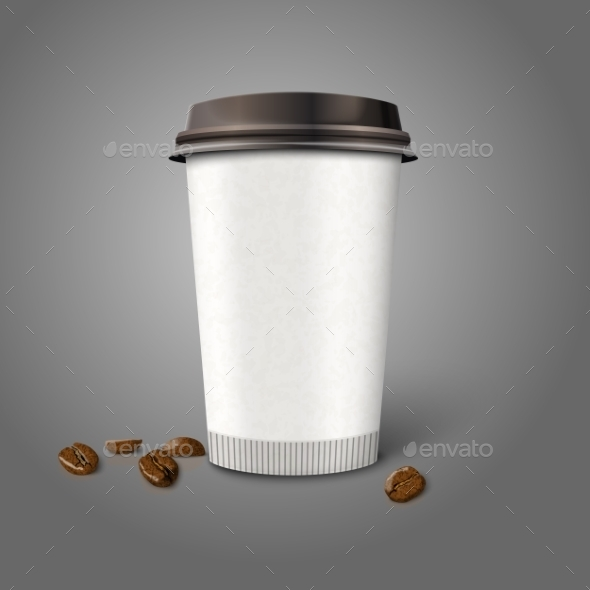 GraphicRiver Blank Realistic Paper Coffee Cup with Beans 9624676