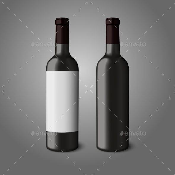 GraphicRiver Two Blank Black Realistic Bottles for Red Wine 9624681
