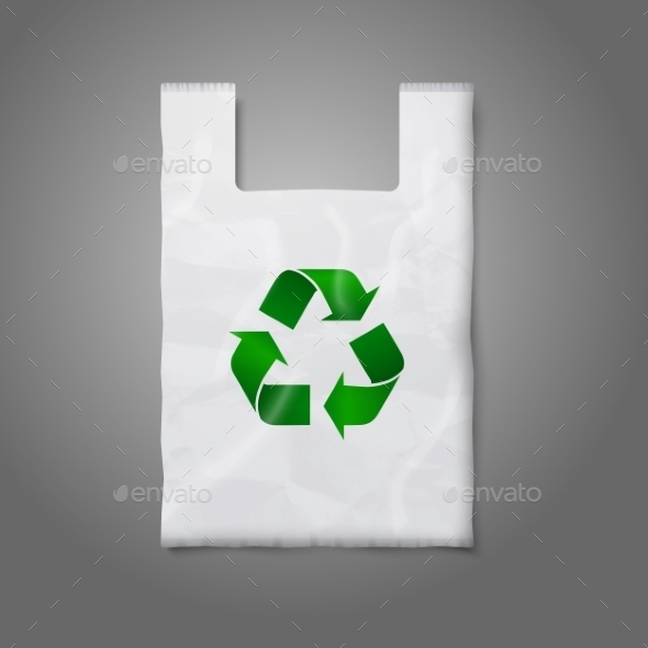 GraphicRiver Blank White Plastic Bag with Green Recycling Sign 9624691
