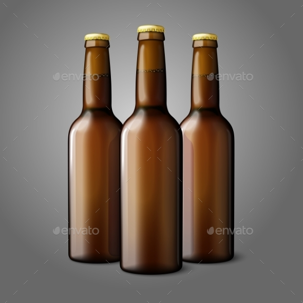 Three Blank Brown Realistic Beer Bottles