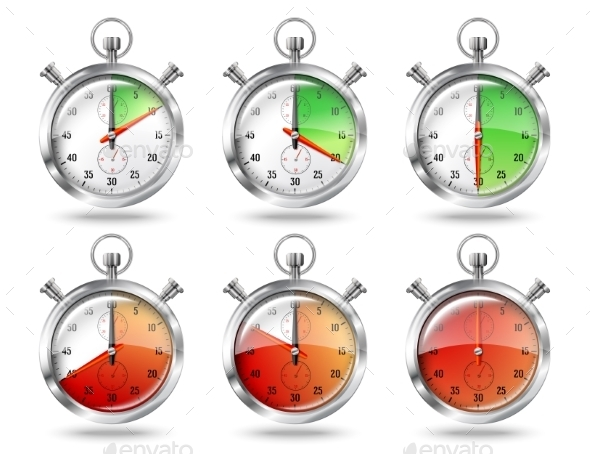 GraphicRiver Set of Silver Bright Stopwatch Clock Intervals 9624704