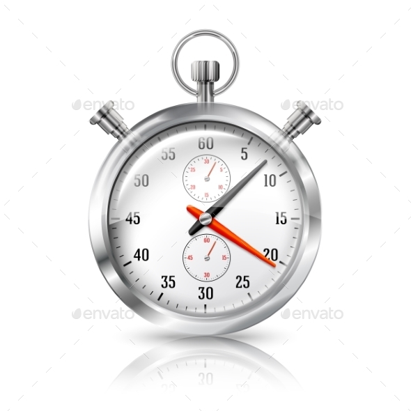 GraphicRiver Silver Bright Stopwatch Clock with Reflection 9624721