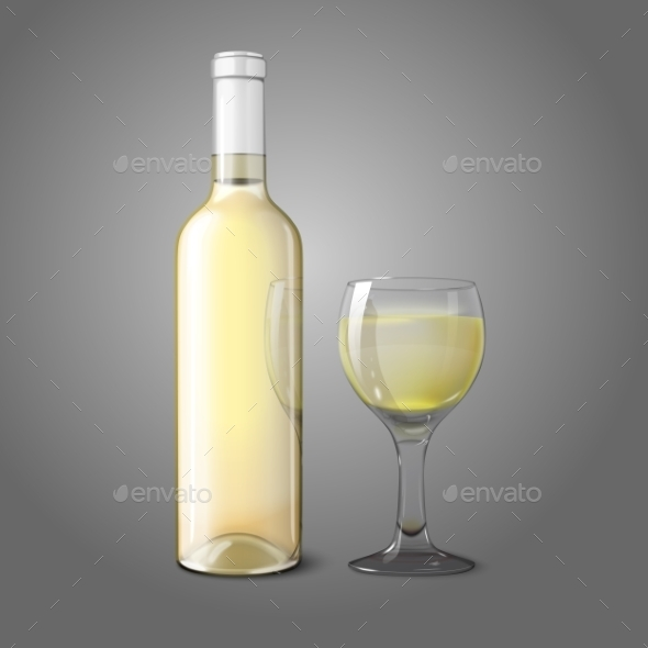 GraphicRiver Blank Realistic Bottle for White Wine with Glass 9624722