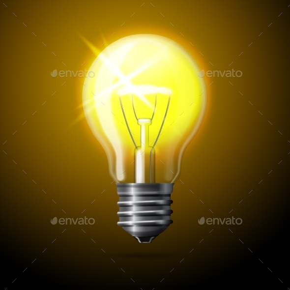 GraphicRiver Realistic Glowing Light Bulb 9624723