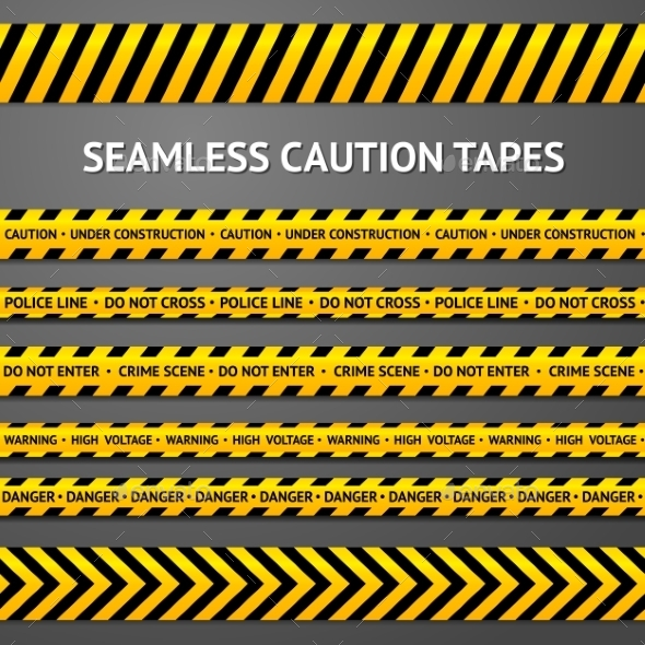 GraphicRiver Set of Black and Yellow Seamless Caution Tapes 9624726