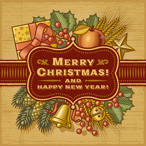 GraphicRiver Merry Christmas Retro Card 9624760