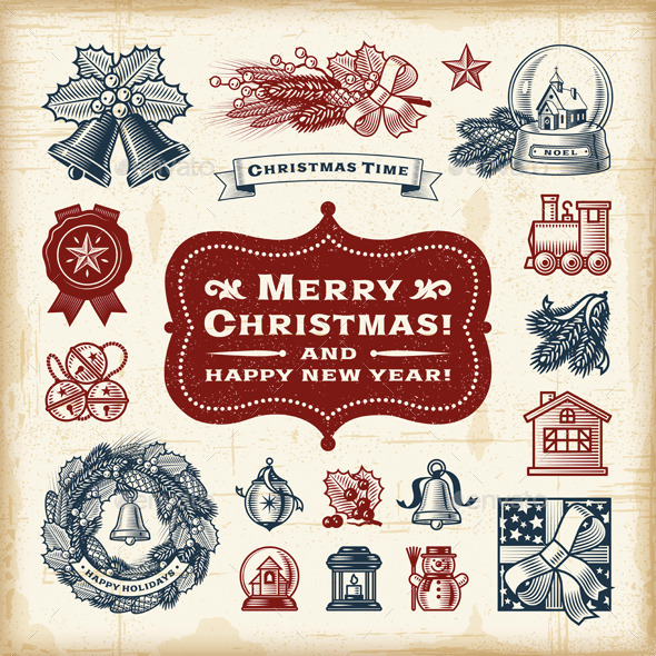GraphicRiver Vintage Christmas Set 9624962