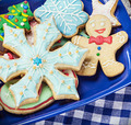 homemade Christmas gingerbread cookies on the plate - PhotoDune Item for Sale