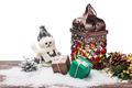 Burning lantern and Christmas decoration isolated - PhotoDune Item for Sale